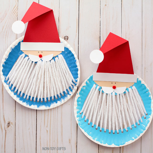 Yarn and Paper plate Santa beard craft for kids
