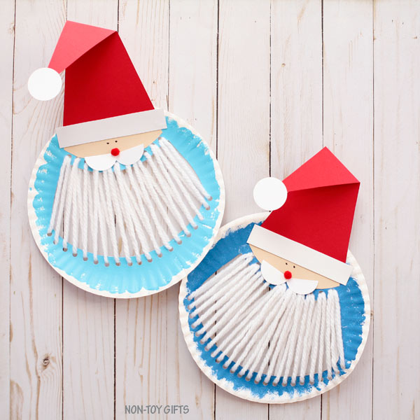 Paper plate Santa beard easy Christmas craft for kids