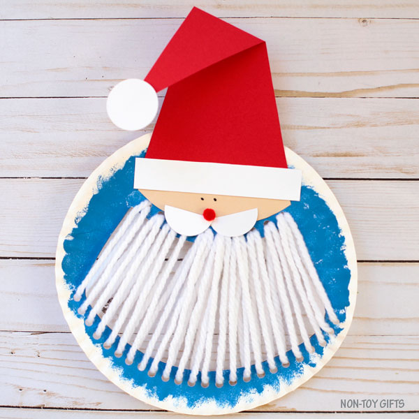 Paper plate Santa beard craft for kids