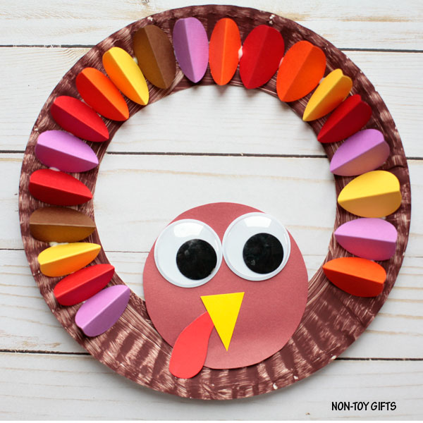 Paper plate turkey wreath  sc 1 st  Non-Toy Gifts & Paper plate turkey wreath craft for kids |