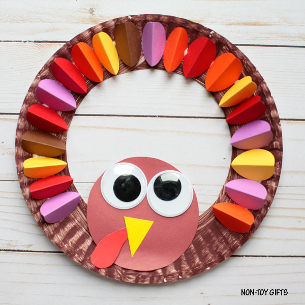 Paper plate turkey wreath craft for kids