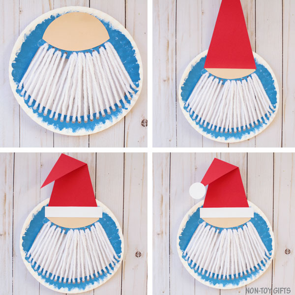 Paper plate Santa beard craft collage