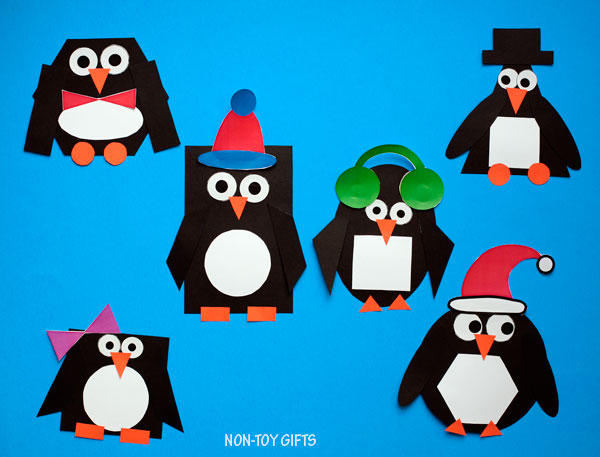 Shape penguin craft for kids to make this winter