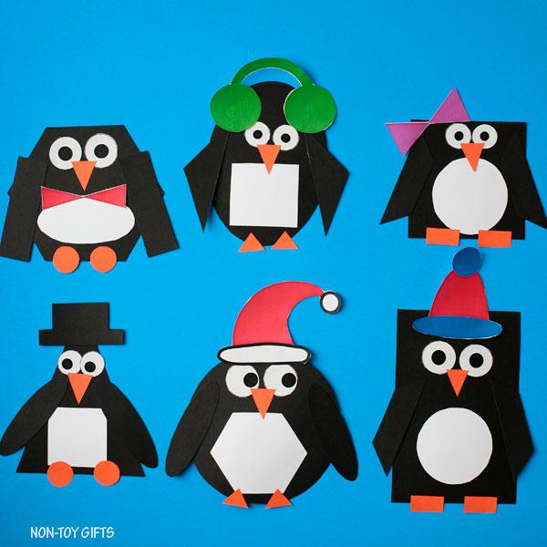 Shape penguin winter craft