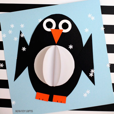 3D shape penguin craft for kids