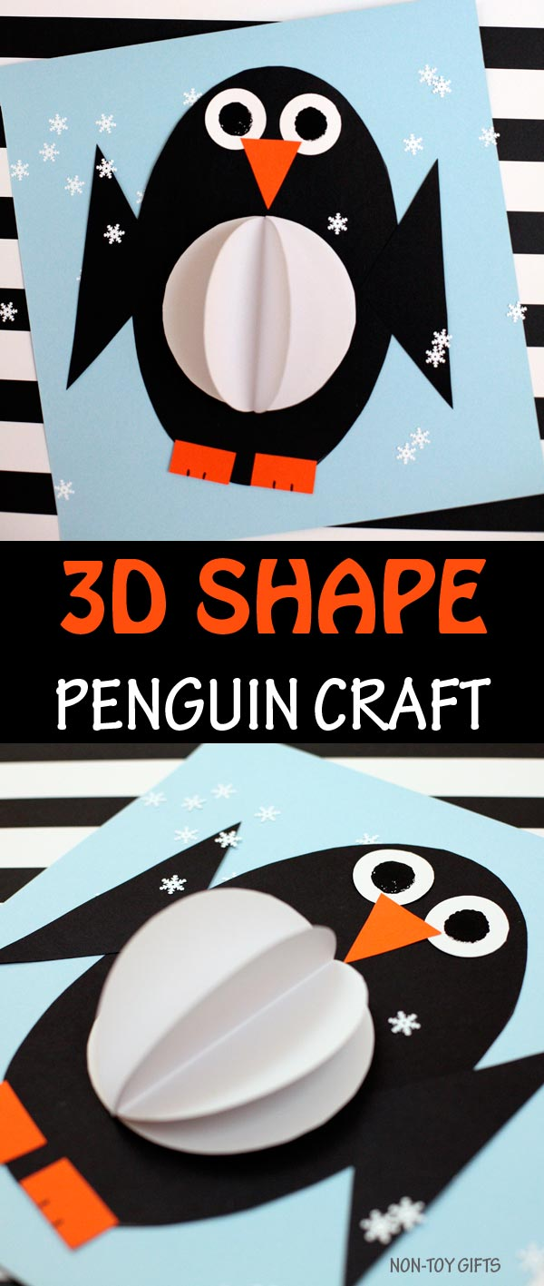 3D shape penguin craft to make with kids this winter. Arctic animal craft #wintercraft #penguins