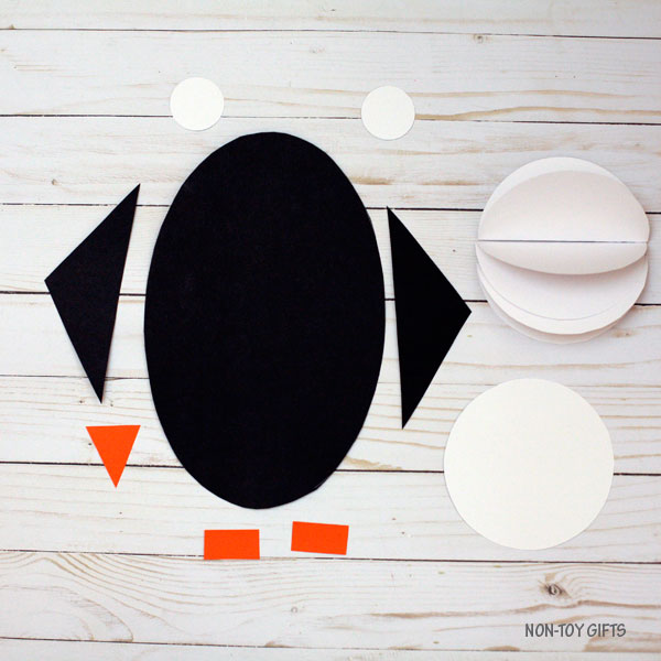 3D shape penguin craft - circle, oval, rectangle and triangle