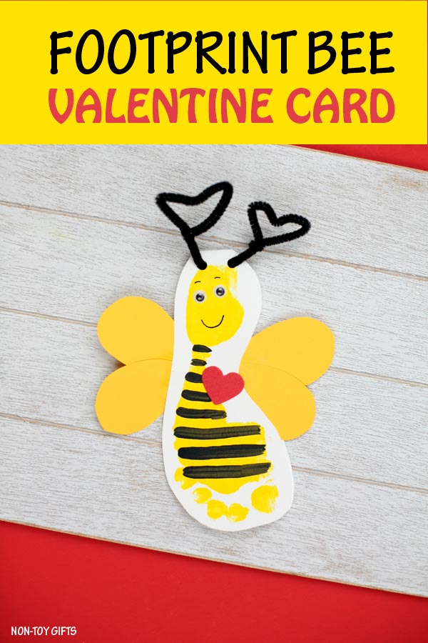 "Footprint bee Valentine craft for kids. ""Bee mine"" card for Valentine's Day"
