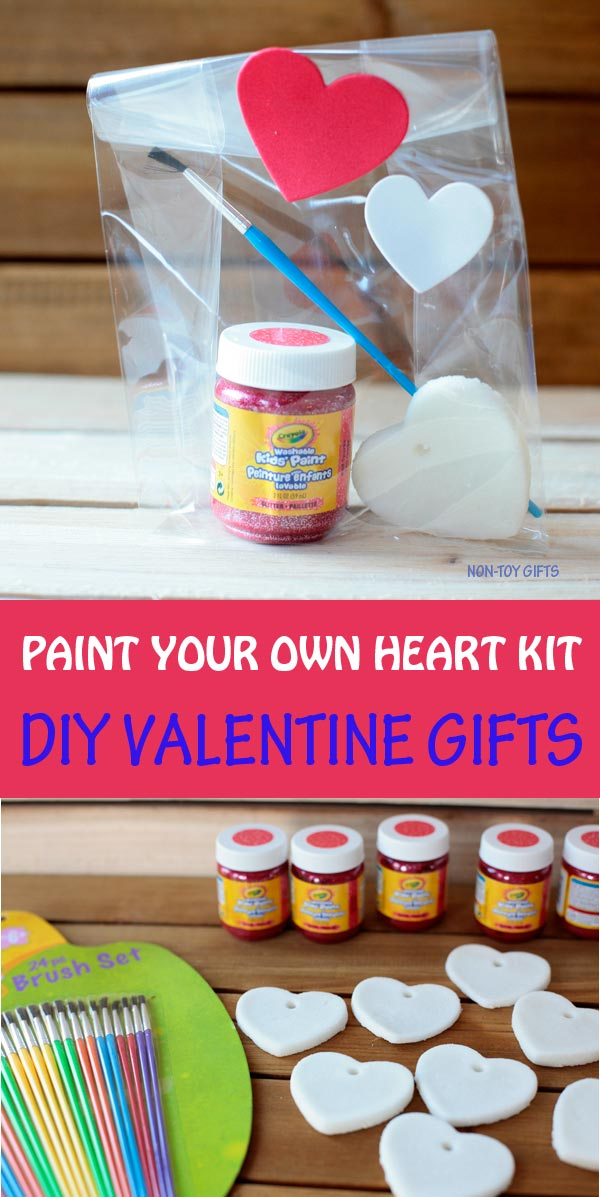 Paint your own heart kit - DIY Valentine gifts for kids to make for the classroom. #valentines #valentinesday #valentinesgifts