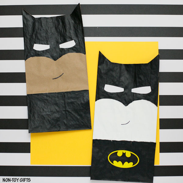 Paper bag superhero craft for kids: Batman