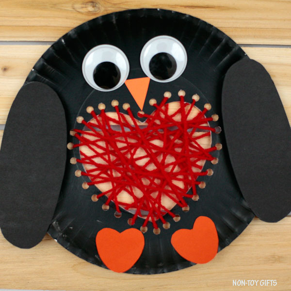 Paper plate heart penguin craft for kids