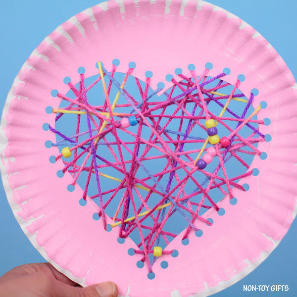 Pink paper plate heart