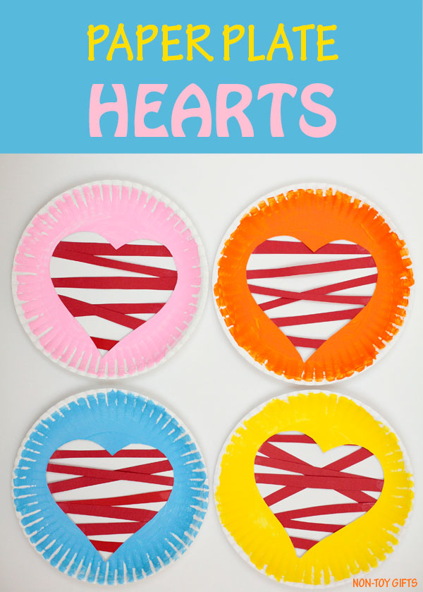 Paper plate heart craft for kids to make on Valentine's Day. Use as decoration in the classroom. Great for fine motor skills for preschoolers and kindergartners. #valentinesdaycrafts #heartcrafts