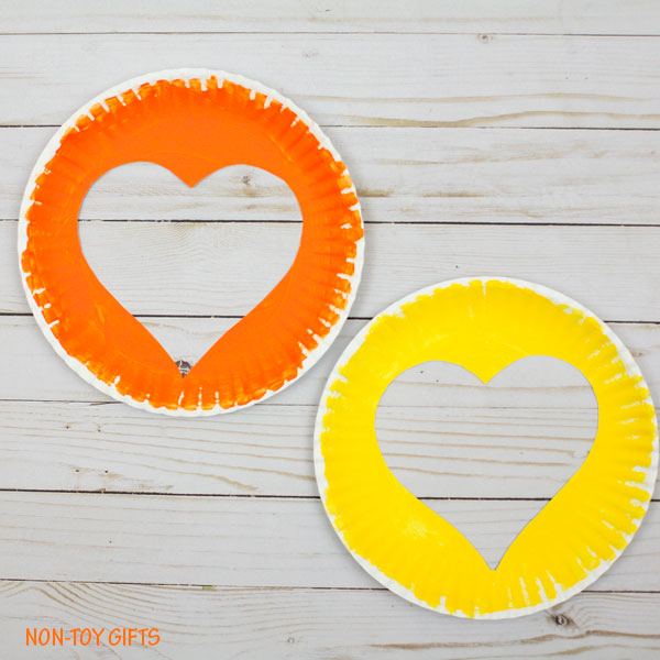 Paper plate and strip hearts