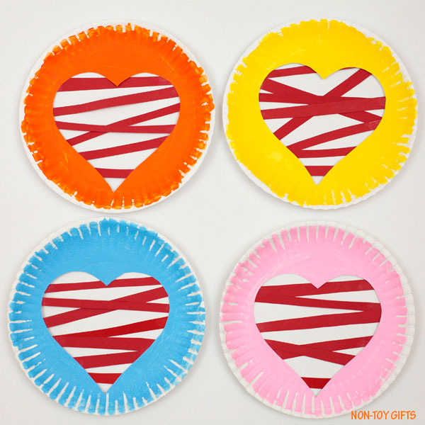 Paper plate heart Valentine craft for kids