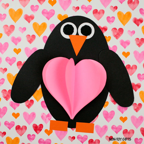 Shape penguin with 3D heart craft for kids