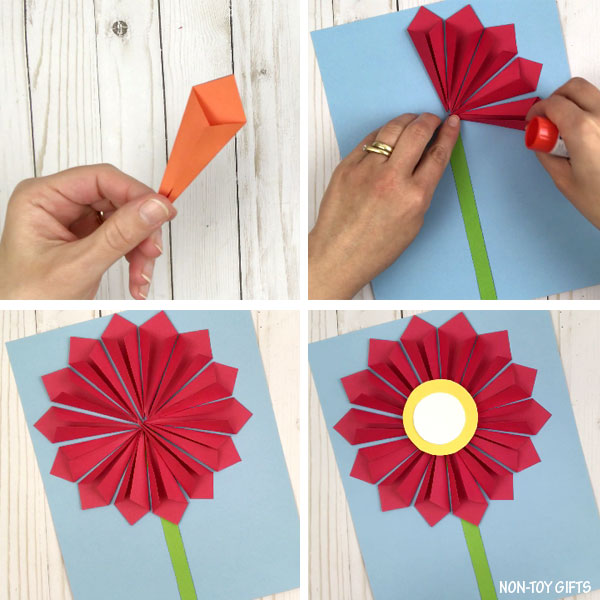 3D paper flower craft process collage