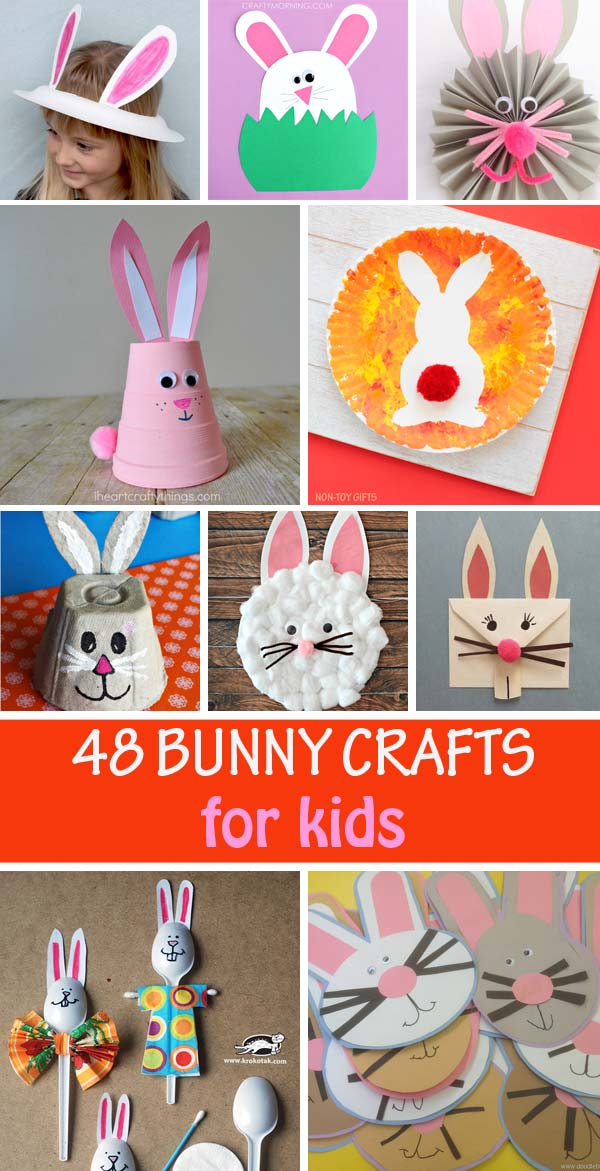 Bunny crafts for kids: handprints, footptints, paper plate crafts, egg carton, envelopes, garlands and more