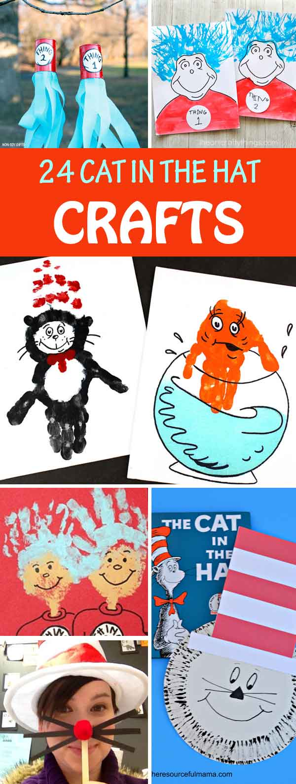 Cat in the Hat crafts to celebrate Dr Seuss birthday.