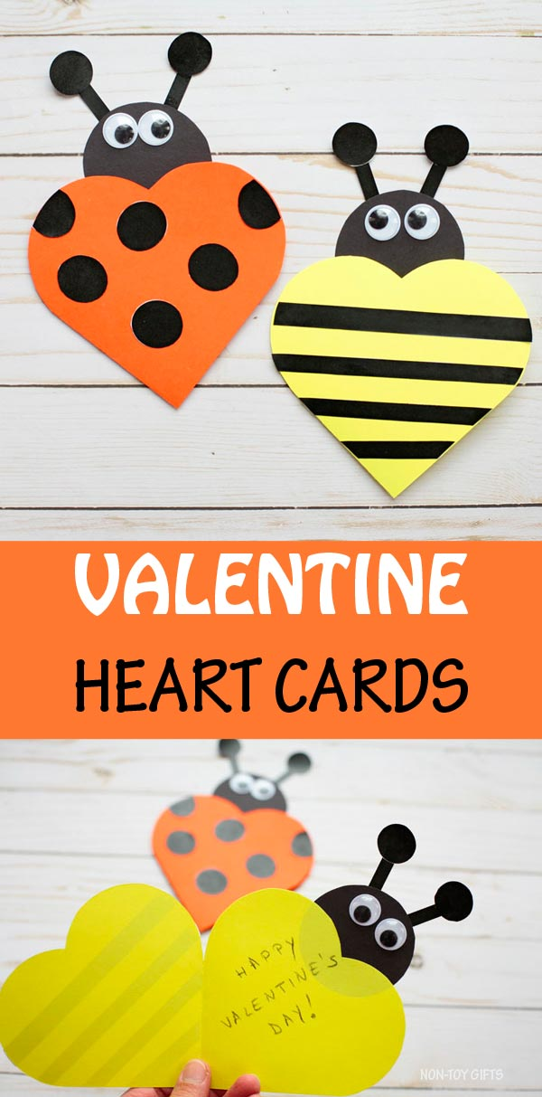 Valentine heart cards kids can make this Valentine's Day. Easy paper bee and ladybug cards. #nontoygifts #Valentinecards