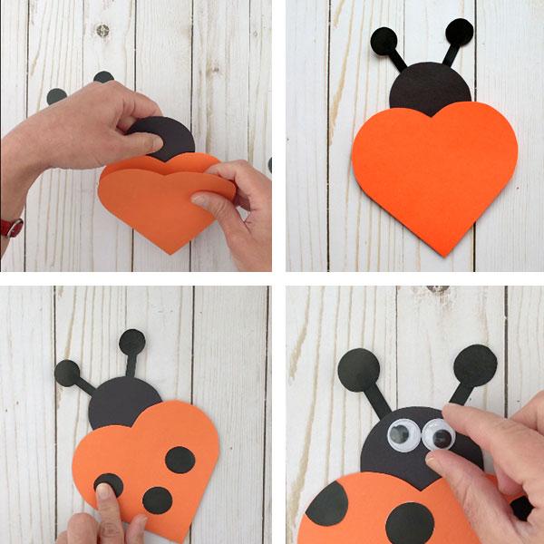 Valentine heart cards: ladybug