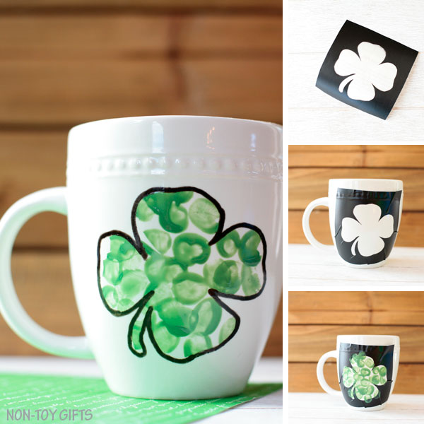 Fingerprint shamrock mug collage