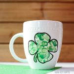 DIY fingerprint shamrock mug for St Patrick's Day