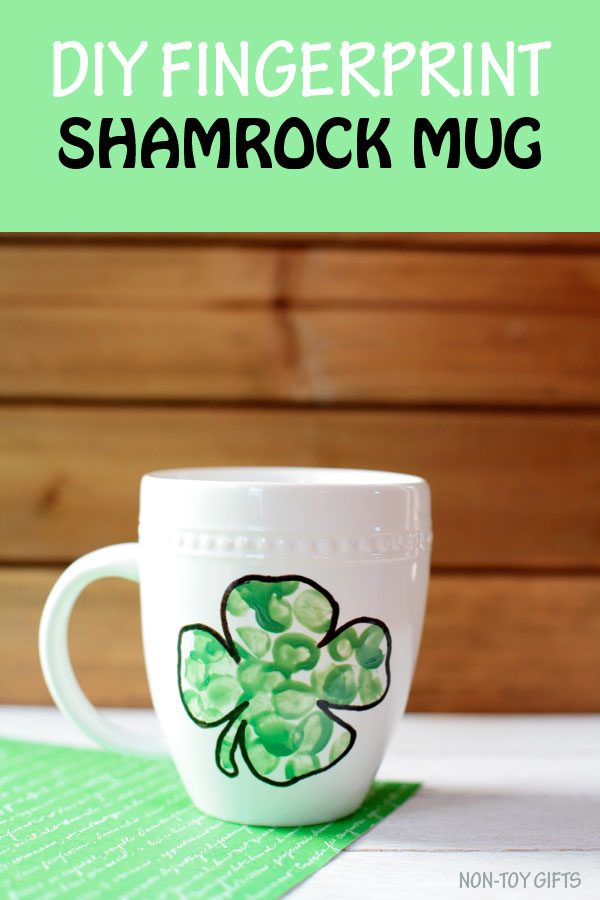 DIY fingerprint shamrock mug for kids to make for St Patrick's Day as a simple craft and a cool keepsake.