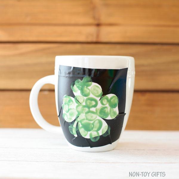 f89624de1 DIY fingerprint shamrock mug for St Patrick's Day