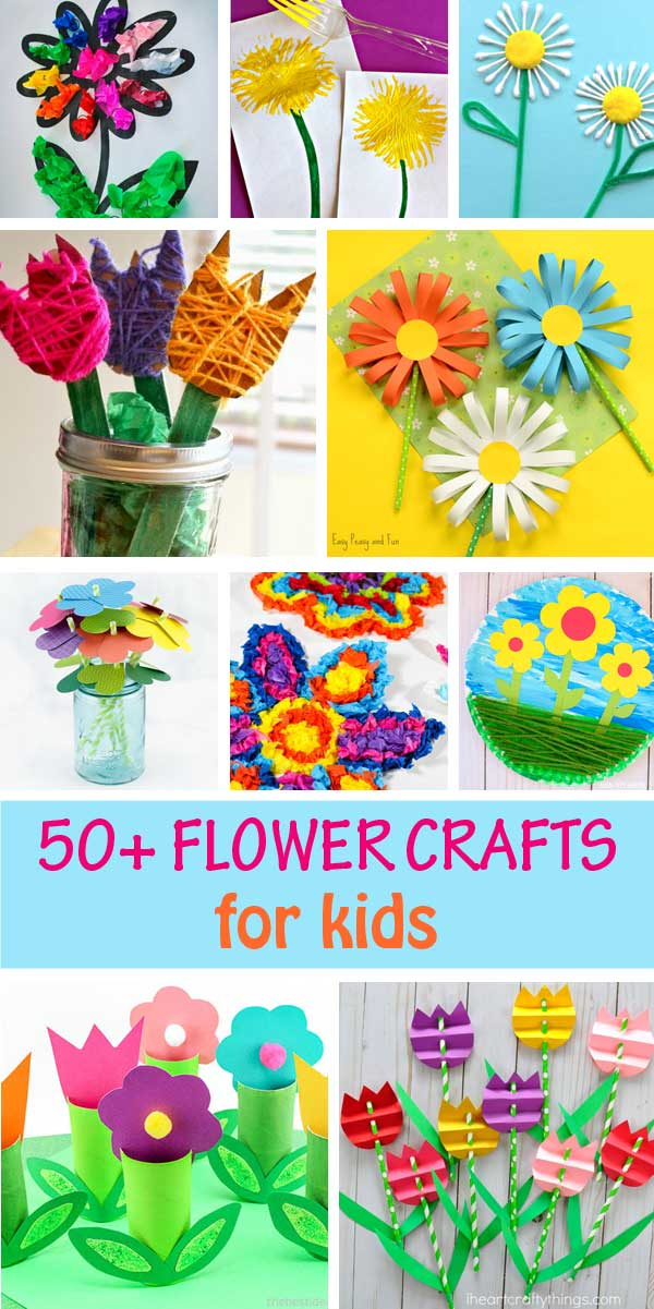 Flower crafts for kids to make this spring or for Mother's Day