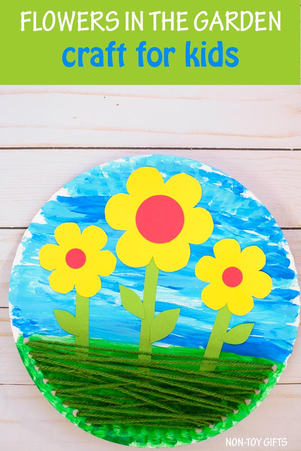 Flowers in the garden - yarn and paper plate flower craft