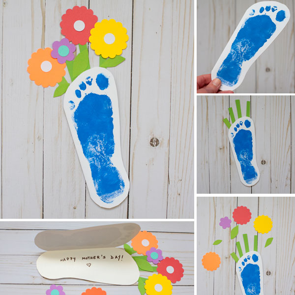 Mother's Day footprint flower card for kids to make
