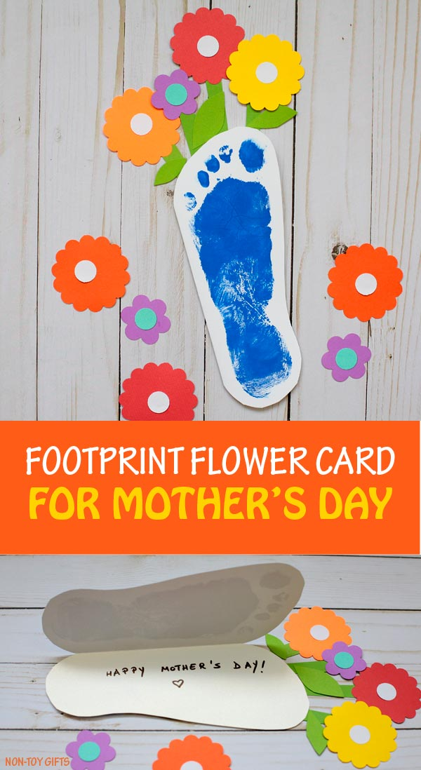 Footprint flower card for kids to make for for Mother's Day