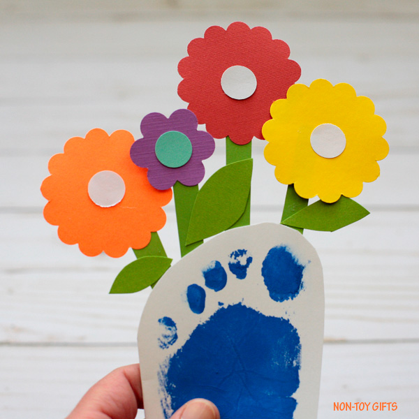 Mother's Day footprint flower card