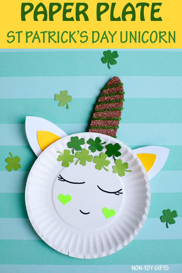 Paper plate St Patricks Day unicorn craft for kids