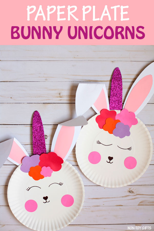 Paper plate bunny unicorn craft for kids to make for Easter