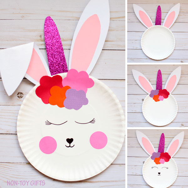 Paper plate bunny unicorn collage
