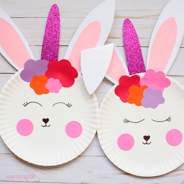 Paper plate bunny unicorn craft