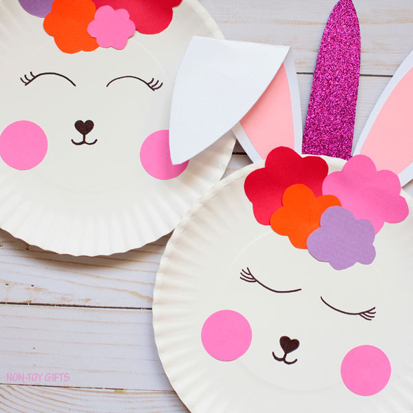 Paper plate bunny unicorn craft for Easter