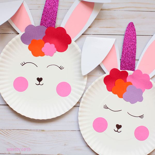 Paper plate bunny unicorn - easy craft