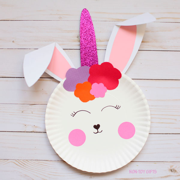 Easy paper plate bunny unicorn craft for kids