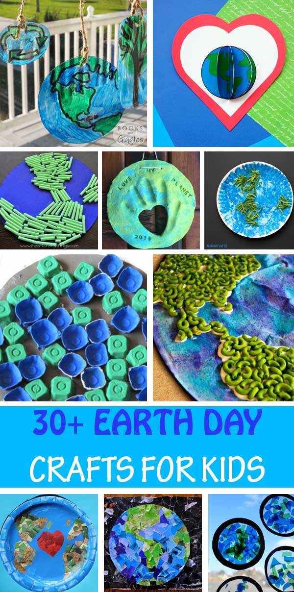 Earth Day crafts for kids. Use paper plates, tissue paper, egg cartons, yarn, coffee filters, pasta, straws and more to create suncatchers, keepsake, luminary and other easy crafts for toddlers, preschoolers and older kids.