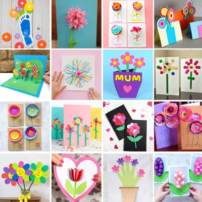 16 Mother's Day flower cards for kids to make
