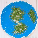 Paper plate Earth sewing craft for kids