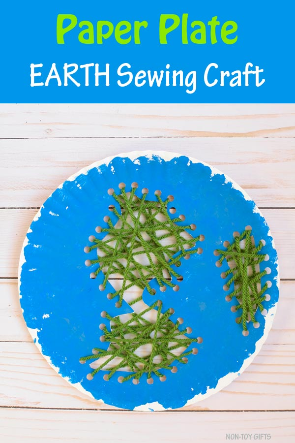 Paper plate Earth sewing craft for kids to make for Earth Day. Use yarn, paper plate and paint. Easy craft for kindergartners