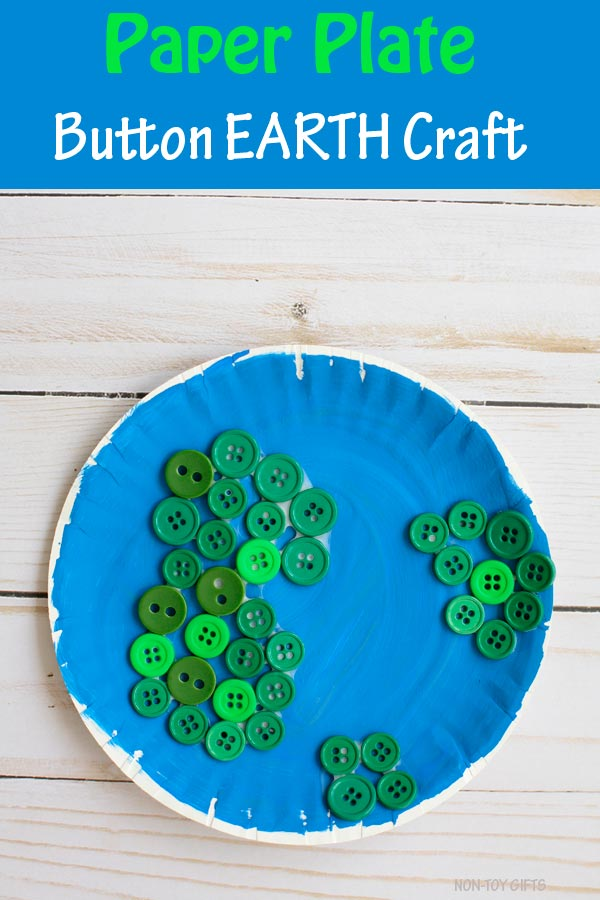 Paper plate button Earth craft for kids