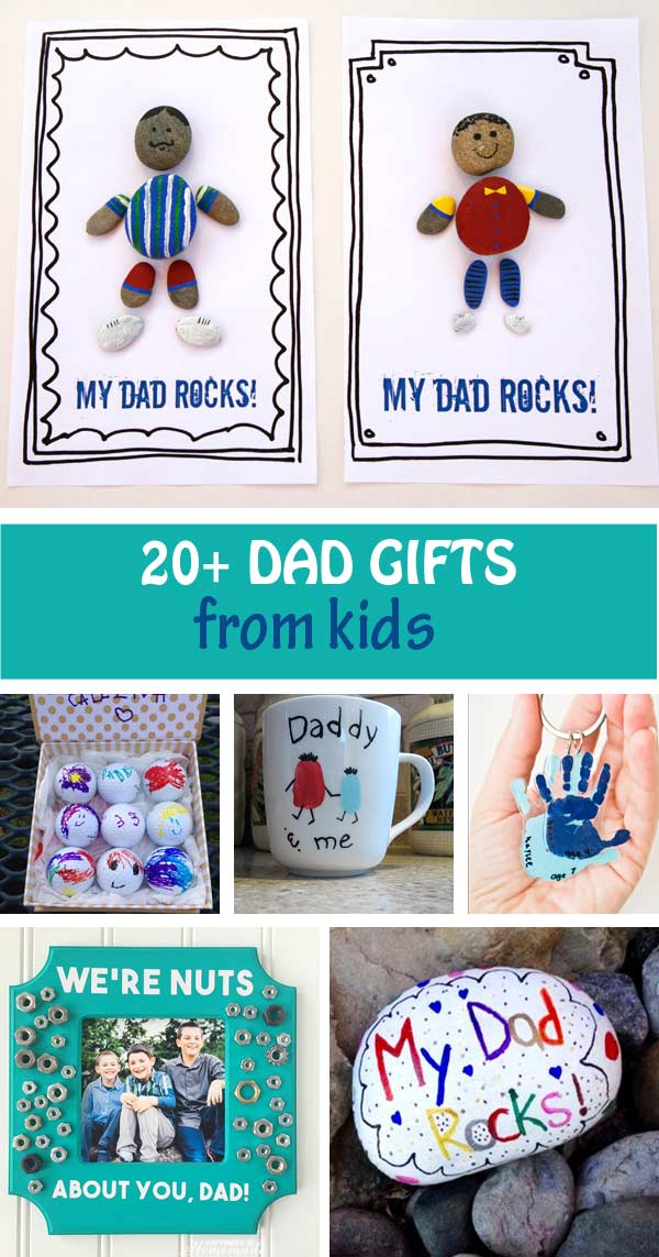 Dad gifts from kids for Father's Day: mugs, handprint keychain, golf balls, My dad rocks! Easy gifts for toddlers, preschoolers and older kids