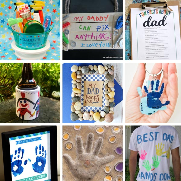 Dad gifts from kids: facts about dad, DIY car wash set, t-shirt, stepping stone, My dad rocks!,