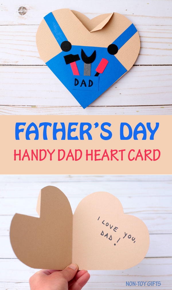 Handy dad heart card for kids to make for Father's Day #FathersDay #kidscard