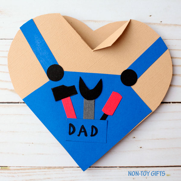 Handy dad heart card for preschoolers and kindergartners to make for Father's Day
